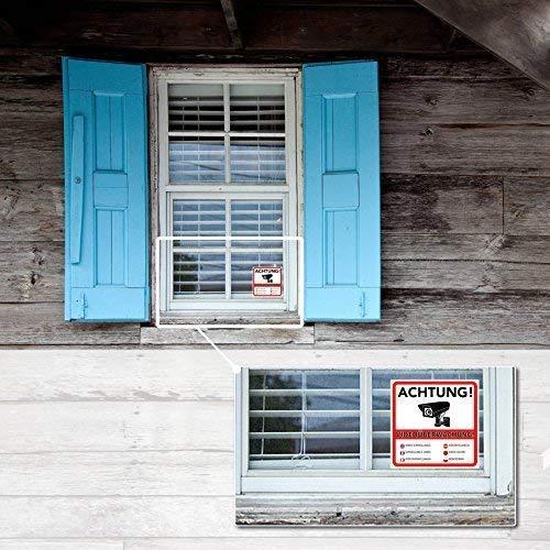 letrero para casa o terreno Pegatina de advertencia de videovigilancia pr/émium resistente a ara/ñazos y el tiempo 10 x 10 cm