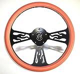 Hot Rod Street Rod Rat Rod Orange & Black Flamed Billet Steering Wheel & Horn