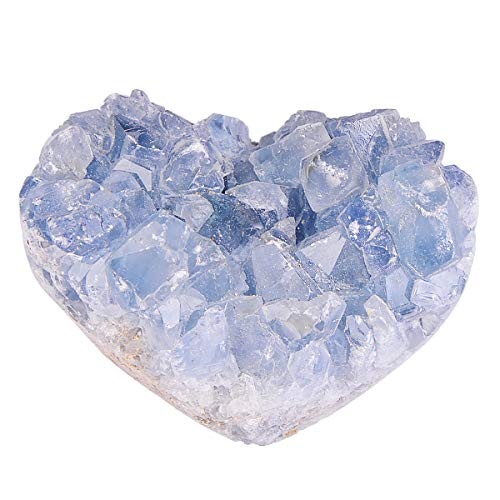 QIANYA Natural Crystal Sparkling Celestite Cluster Allies Stone Home Decoration Specimen for Meditation, Reiki and Healing