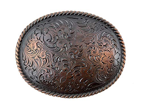 Antique Copper Rope Edge Engraved Western Oval Belt Buckle