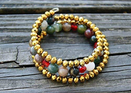 Crystal Memory Wire Bracelet - Gemstone and Gold Crystal Memory Wire Wrap Bracelet