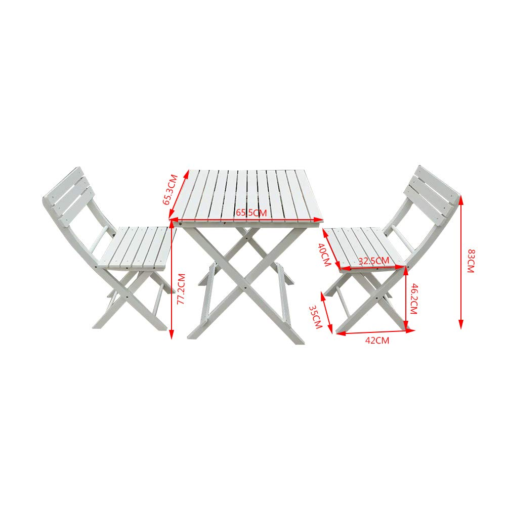 PALDIN Folding Wooden Garden Furniture Dining Set 2 Seater Outdoor/&Indoor Patio Coffee Rustic Square Table /& Chairs set Brown