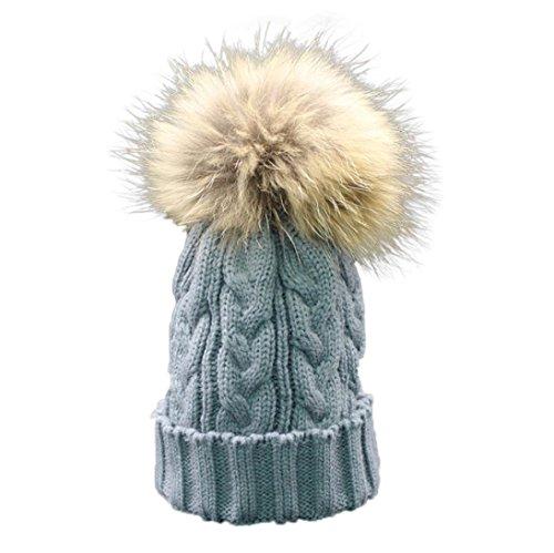 Longra Kleinkind Baby Winter Häkelarbeithut Pelz Wolle Strickmütze warme Mütze (Grau)