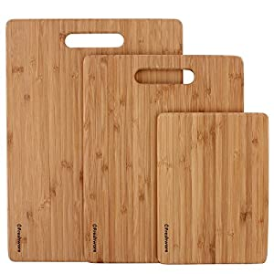 Cutting Boards for Kitchen [Bamboo, Set of 3] Eco-Friendly Wood Cutting Board for Chopping Meat, Vegetables, Fruits…