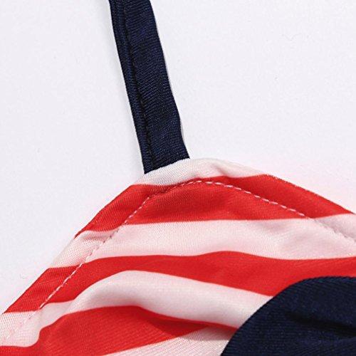 eab5b878886d8 Hunputa 3pcs Baby Girls Bikini Suit Navy Striped Swimsuit Swimwear Bathing  with Headband (0-