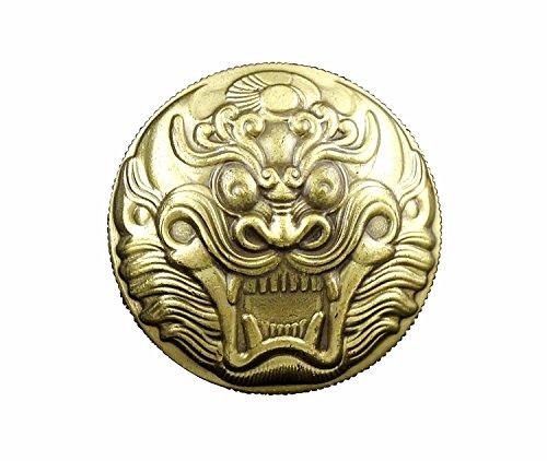 Biker Concho (Dragon Head Wallet Snap SNAKE BRASS CONCHO Gold Bronze Biker Belt Pouch)