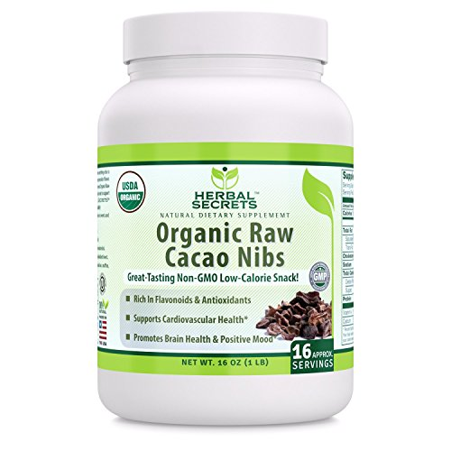 Herbal Secrets USDA Certified Organic Raw Cacao Nibs 16 oz (Non-GMO) 1 lb Gluten Free – Promotes Brain Health & Positive…