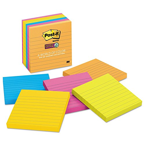 (Product of Post-it Super Sticky Notes, 4 x 4, Lined, 90 Sheet Pads, 6 Pads, Jewel Pop Collection - Sticky Notes [Bulk Savings])