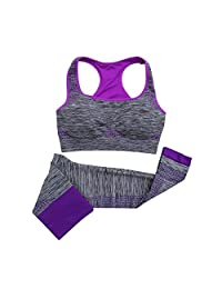 HMILYDYK Women's Sports Bra Pants Set Yoga Clothing Suits, Run Racerback & Leggings Gym Outfits Sportwear for Exercise