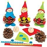 Kit di vere pigne da decorare con elfi natalizi per bambini - Set gioco creativo fai da te per bambini, da personalizzare (confezione da 5)
