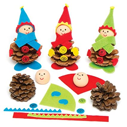 6881e8ef7f6 Amazon.com  Baker Ross Make Your Own Christmas Elf Natural Pine Cone Kits  for Children - Creative Craft Toy Set for Kids to Personalize (Pack of 5)   Toys   ...