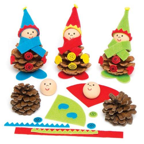 Make Your Own Christmas Elf Natural Pine Cone Kits for Children - Creative Craft Toy Set for Kids to Personalize (Pack of (Pinecone Christmas Crafts)