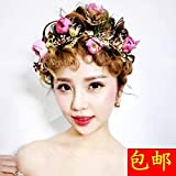 Generic Japanese and Korean style pink flowers Sen Deparent bride crystal beads gold leaf hair hoop crown tiara tiara headdress hair accessories wedding flower head