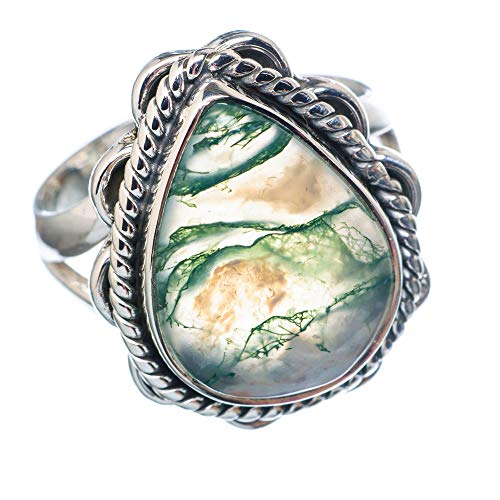 Green Moss Agate Ring Size 8.25 (925 Sterling Silver) - Handmade Boho Vintage Jewelry RING922242 ()