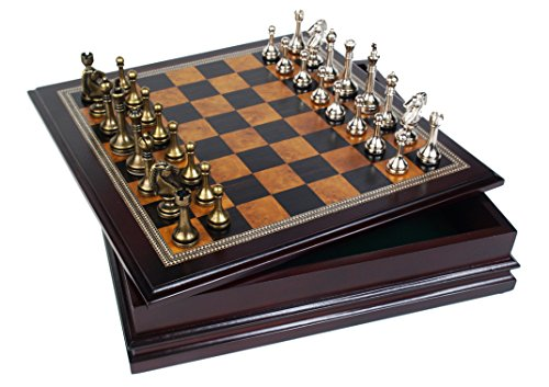 classic game collection metal chess set with deluxe wood. Black Bedroom Furniture Sets. Home Design Ideas