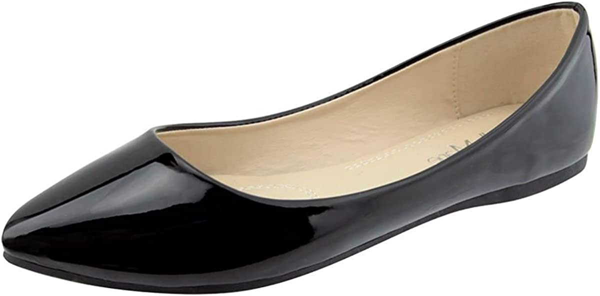 Bella Marie Angie Women's Classic Pointy Toe Ballet Flat Shoes
