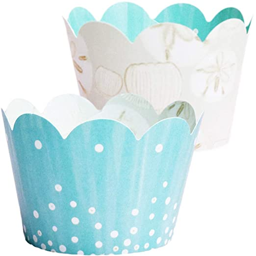 Amazon.com: Under the Sea Cupcake Wrappers - 36, Mermaid Baby Shower Decorations, Island, Beach Theme, Retirement Party Supplies, Wedding Dessert Table ...