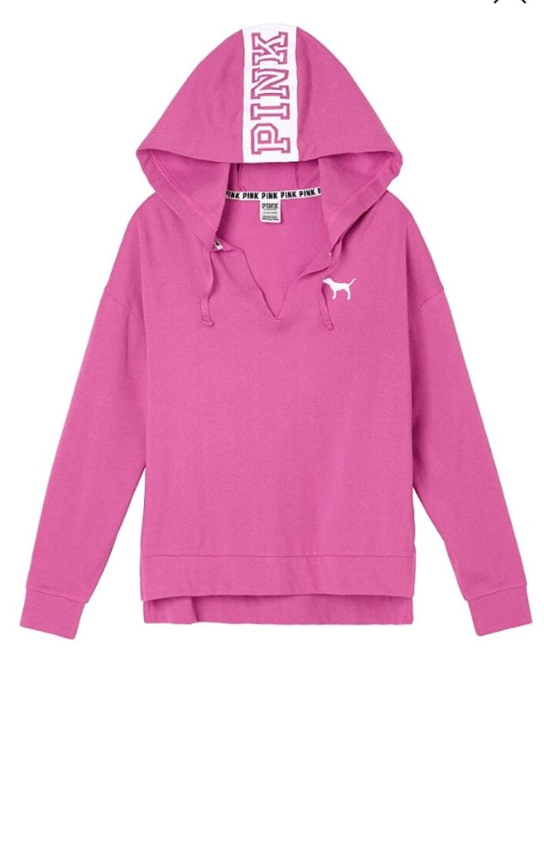 Victoria's Secret PINK Boyfriend Quarter-Zip Heather Luna Pearl ...