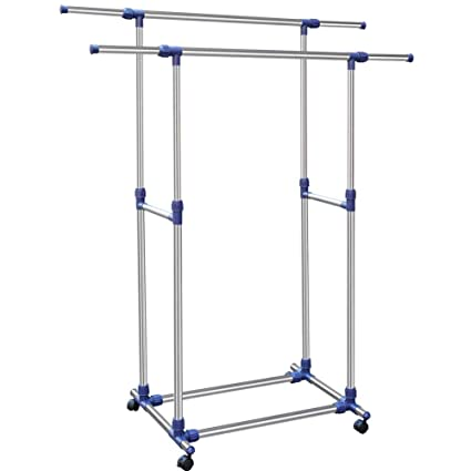 Bakaji Stand perchero doble ajustable de acero plegable ...