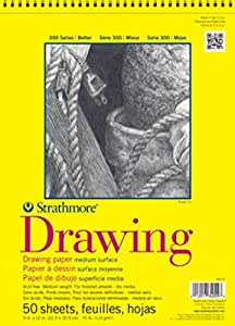 """Strathmore 340-11  300 Series Drawing Pad, 11""""x14"""" Wire Bound, 50 Sheets"""