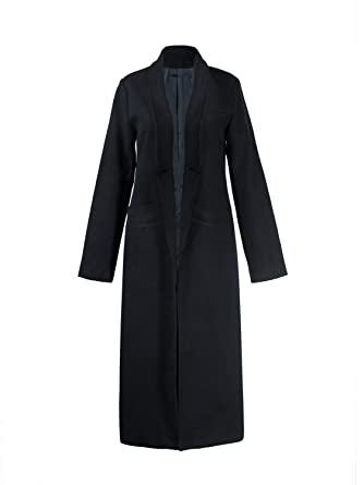 e98ffdc00c Amazon.com: PERSUN Women Gray Woolen Lapel Long Sleeve Longline Coat ...