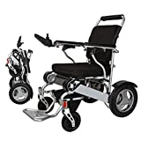 "EBEI Electric Wheelchair Folding Lightweight Deluxe Foldable Power Compact Mobility Aid Wheel Chair Weight Only 50 Lbs with Batteries 12""Solid Rear Tires More Stable Support 360 Lbs Heavy Duty"