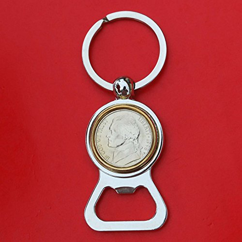 US 1998 Jefferson Nickel 5 Cent BU Uncirculated Coin Gold Silver Two Tone Key Chain Ring Bottle Opener NEW