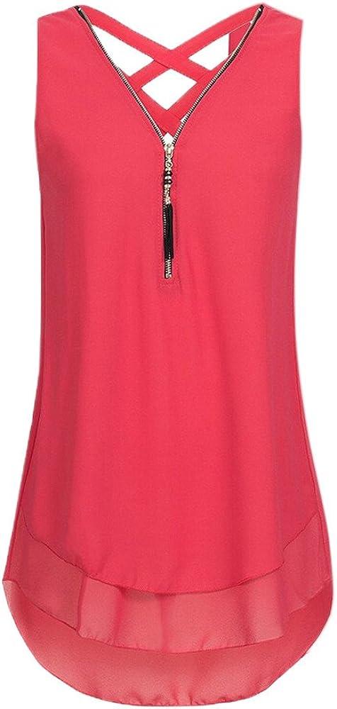DaySeventh Summer Deals 2020 ! Women Loose Sleeveless Tank Top Cross Back Hem Layed Zipper V-Neck T Shirts Tops