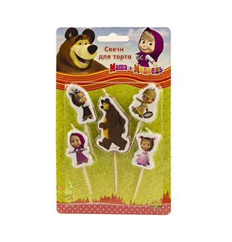 Holiday Set of 5 Figures of Candles Masha and the Bear an Excellent Offer for a Birthday Cake Topper Party Supplies Masha y el Oso Holiday Figure Set