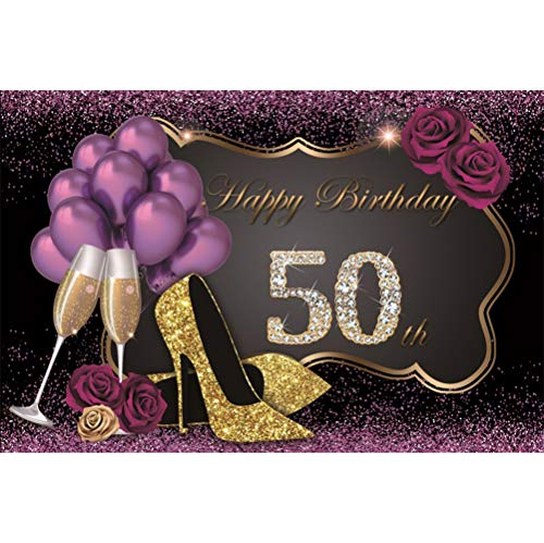 Laeacco Happy 50th Birthday 10x6.5ft Vinyl Photography Background Luxurious Shiny Diamonds Golden Glittering High Heels Purple Balloons Roses Champagne Goblets Purple Glitter Decors Backdrops