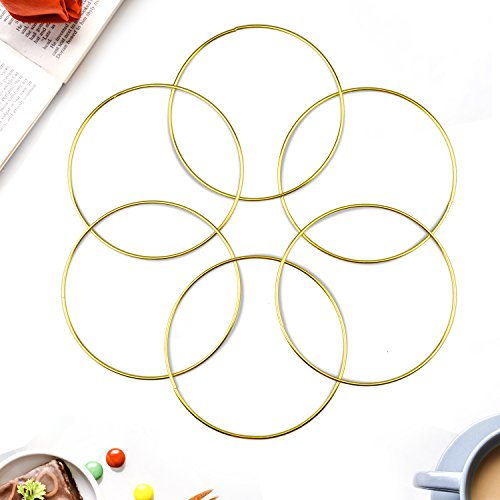 Aboat Set of 6 Dream Catcher Metal Rings, Macrame Ring for Dream Catcher and Crafts, Gold, 6 Inch