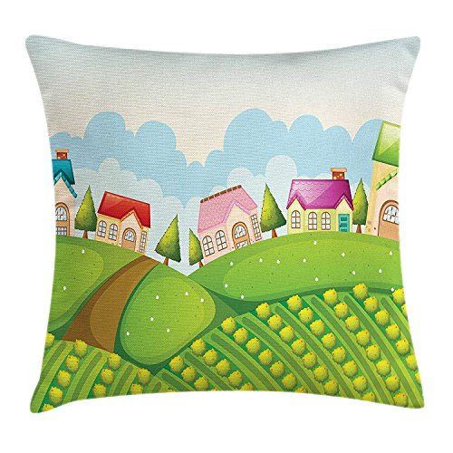 YVSXO Country Throw Pillow Cushion Cover, Colorful Farmhouses on Hills with Pine Trees Pathway Cabbage Crops Outdoor Nature, Decorative Square Accent Pillow Case, 18 X 18 inches, Multicolor ()