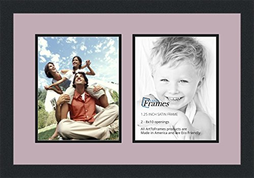 Holiday Color Photo (ArtToFrames Collage Photo Frame Double Mat with 2 - 8x10 Openings and Satin Black Frame)