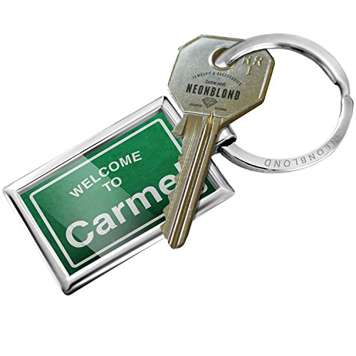 NEONBLOND Keychain Green Road Sign Welcome to Carmel