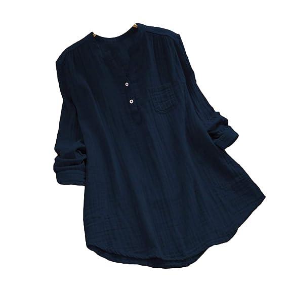 Mujeres Manga Larga Collar De Pie Camisa Señoras Ocasional Flojo Color Puro Camiseta Verano Protector Solar