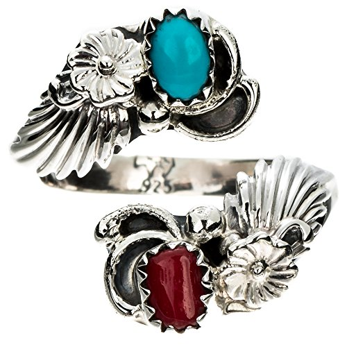 (TSKIES Handmade Navajo Turquoise Coral Sterling Silver Adjustable Ring by Native American)