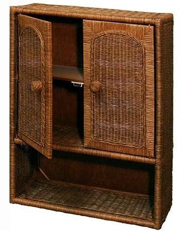 Ordinaire Wicker Bathroom Wall Medicine Cabinet In Antique Brown Stain