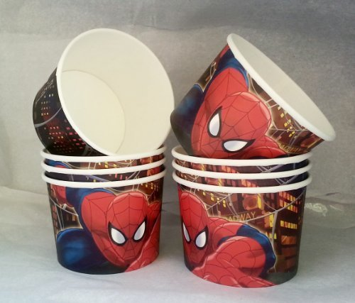 Marvel Ultimate Spider-Man Birthday Party - Snack Cups - Mini Popcorn Box - Set of 8 - Spider Man Treat Boxes