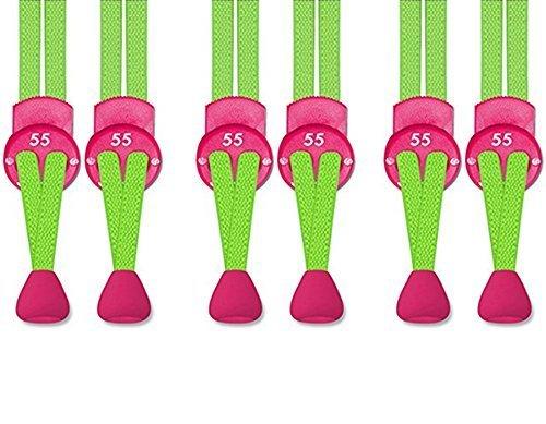 Pack Schnellverschluss Green 55 elastische Neon 3 mit Sport extraflache Schnürsenkel ® SBvxYwC