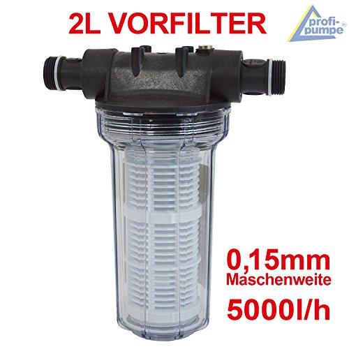VORFILTER 2L für FEINFILTERUNG bei WASCHMASCHINEN, SCHALTGERÄTEN, KREISELPUMPEN etc.  max. 5000L/h Maschenweite: 0,15mm