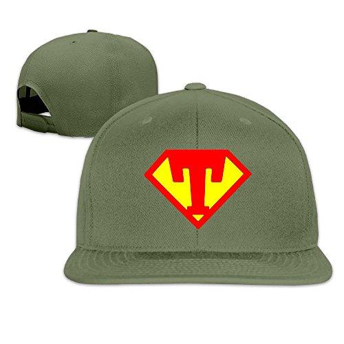 Price comparison product image Custom Unisex Diamond Shape Letter T Logo Flat Brim Baseball Cap Hats ForestGreen