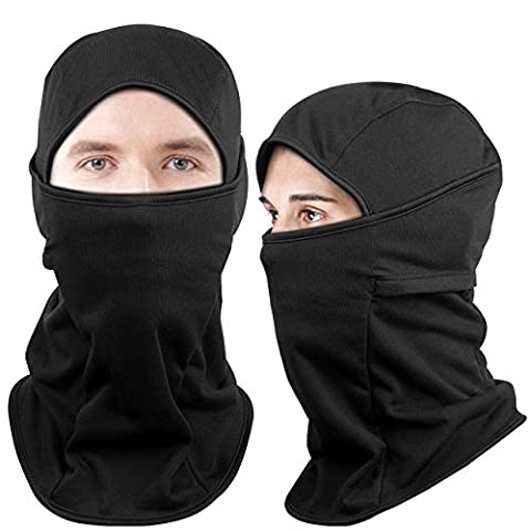 Dimples Excel Thermal Fleece Ski Balaclava Face Mask for Skiing Snowboarding Motorcycle Cycling Mountaineering Hunting Winter Sport (2 Pack) (Thermal Fleece Version (Black + - Winter Balaclava