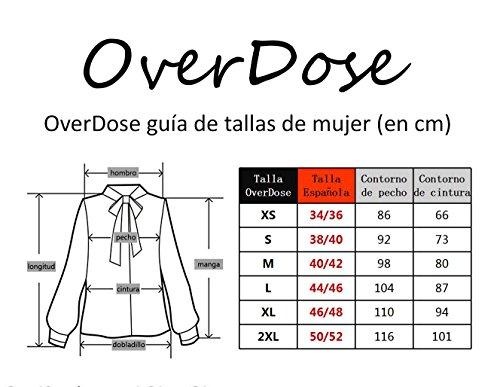 4 O Mangas Mujer 3 Irregular Top para Cuello OverDose Negro Blusas Fq1fwX0