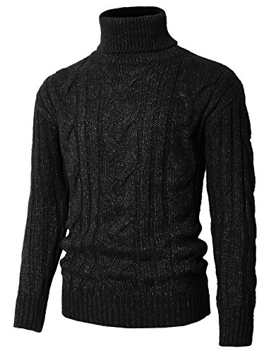 - H2H Mens Casual Slim Fit Striped Knitted Turtleneck Pullover Sweater Black US L/Asia XL (KMOSWL0222)