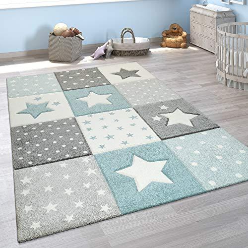Paco Home Alfombra Infantil Moderna Pastel Cuadros Estrellas Lunares Diseno En Azul Gris, tamano80x150 cm