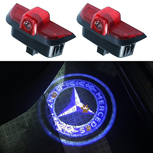 JKCOVER For Mercedes Benz C Class, Car Door LED Welcome Projector Blue Circle Logo Ghost Shadow Door Light - 2pcs Mercedes C-class Sedan