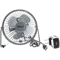 Comfort Zone 4 Dual Powered High Velocity Fan (Silver)