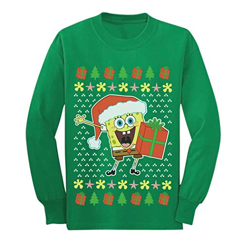 Spongebob Ugly Christmas Sweater Official Youth Kids Long Sleeve T-Shirt Medium -
