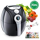 Air Fryer,Blusmart Electric Air Fryer, 3.4Qt/3.2L 1400W, LED Display, Hot Air Fryer,Healthy Oil Free for Multifunctional Cooking/Baking,Automatic Timer & Temperature Controls, Fry Basket & Recipe Boo