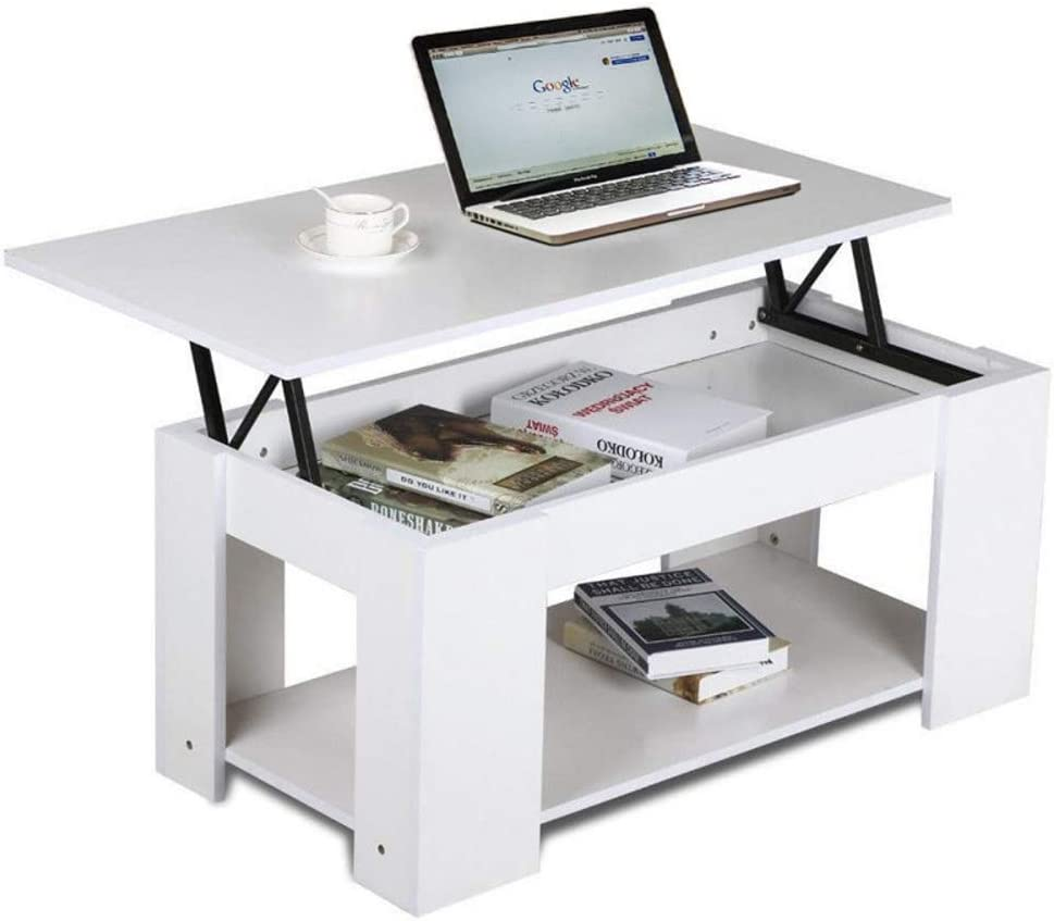 bigzzia Coffee Table Lift Up Top Coffee Table//Tea Table With Storage /& Shelf For Office Living Room Modern Furniture White